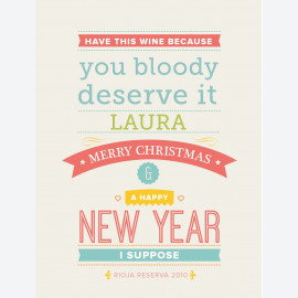 Neon Christmas So Rude! Personalised Wine Label