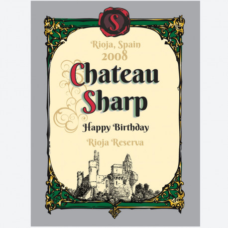 Chateau personalised wine label