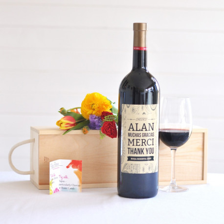 Personalised Rioja Reserva wine magnum with wooden gift box