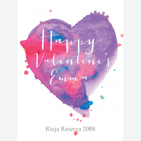 Personalised wine label - Watercolour Heart Purple