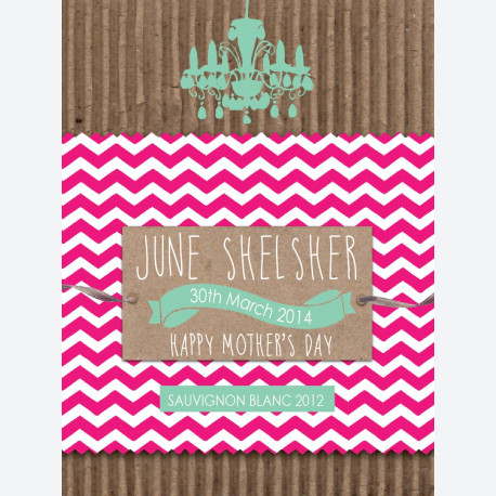 Personalised wine gift - Kraft Pink Chevron - Green