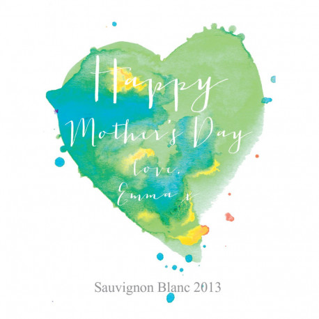 Personalised Wine Label - Watercolour Heart Green