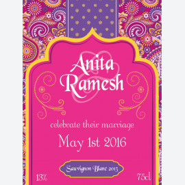 Personalised wine label - Bollywood Pink