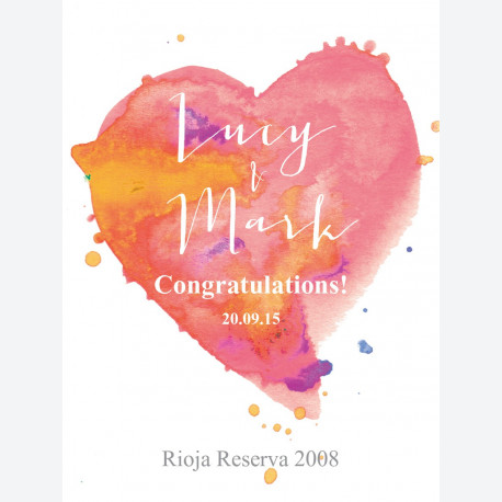 Personalised wine label - Watercolour Heart - Pink