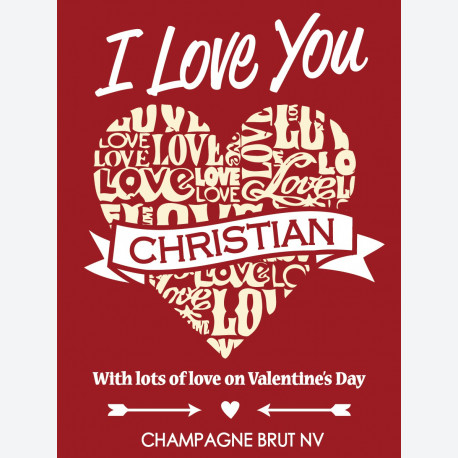 Personalised wine label for valentines