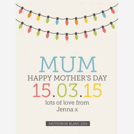 Personalised wine label - Coloured Lights - Mum
