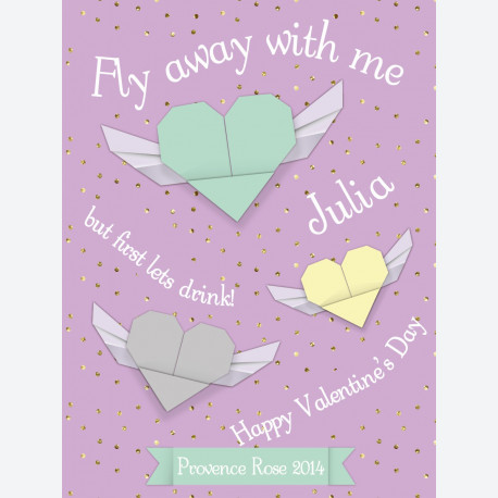 Personalised wine label  - Origami Hearts - Lilac