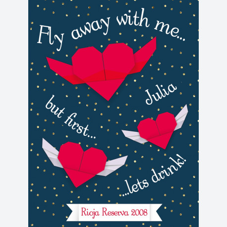 Personalised wine label - Origami Hearts - Blue