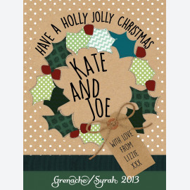 Holly Wreath Personalised Wine