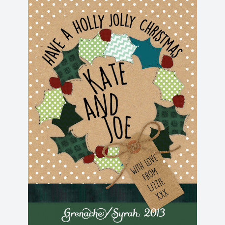 Personalised wine label - Holly Wreath