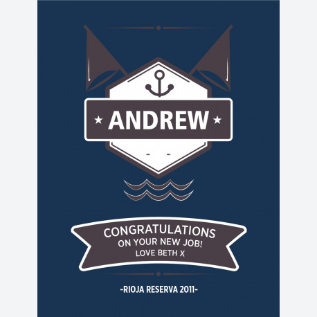 Personalised wine label - Sports Sailing