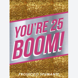 Birthday Boom Gold Personalised wine label