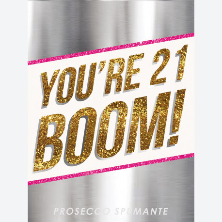 Birthday Boom Silver Personalised wine label
