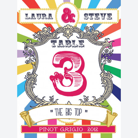 Circus Multi-Coloured Table Number