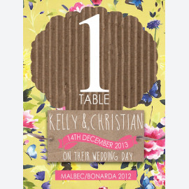 Kraft Yellow Floral Table Number