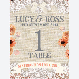 Peach Hessian Table Number