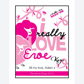 Love Ewe - Pink Personalised Wine Label