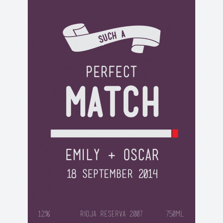 Perfect Match Personalised Wine Label for weddings