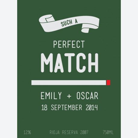 Green Perfect Match Personalised Wine Label