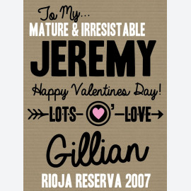 Mature and Irrestible Personalised Wine Label