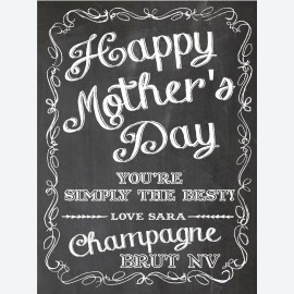 Chalkboard Mum Personalised wine label