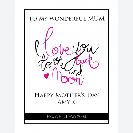 To The Moon Mum Personalised wine label