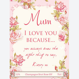 Floral Mother's Day personalised wine