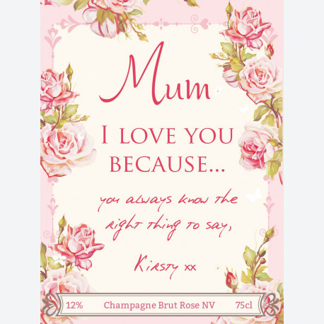 Floral Mother's Day Personalised wine label