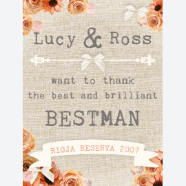 Personalised wine label for the best man - peach hessian design
