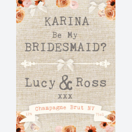 Be my bridesmaid personalised wine label
