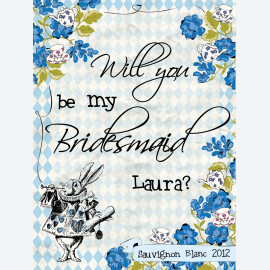 Alice In Wonderland Blue Hare Personalised Wine Label