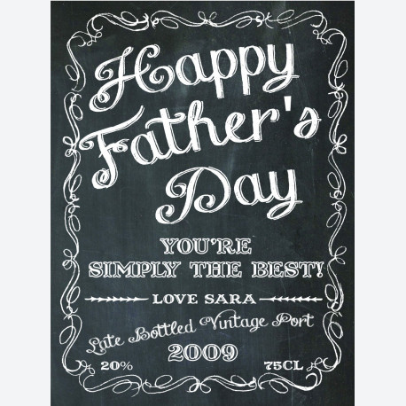 Personalised wine label - Chalkboard - for Father's Day
