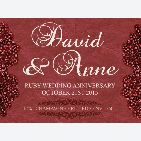 Personalised wine labels for Ruby Anniversary