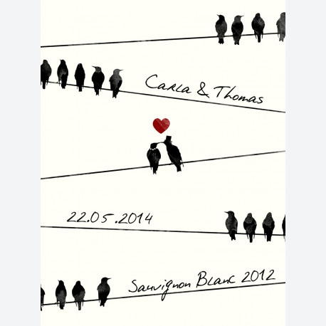 Birds On A Wire Personalised Wine Label