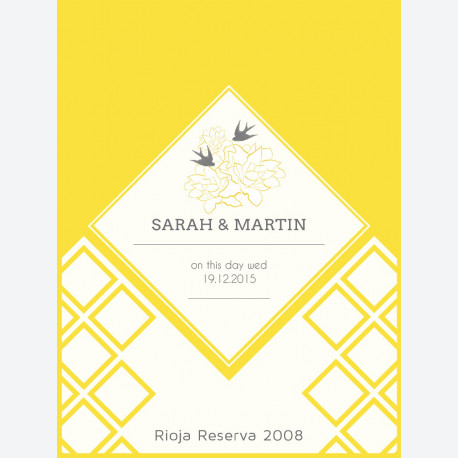 Yellow Bird Flowers Personalised Wine Label