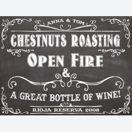Chalkboard Chestnuts personalised wine label