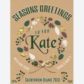Natural Wreath personalised wine label