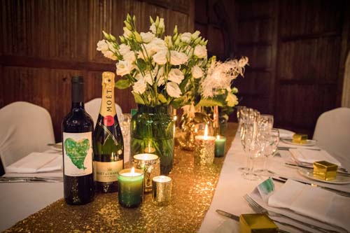 Wedding table with personalised wine bottles