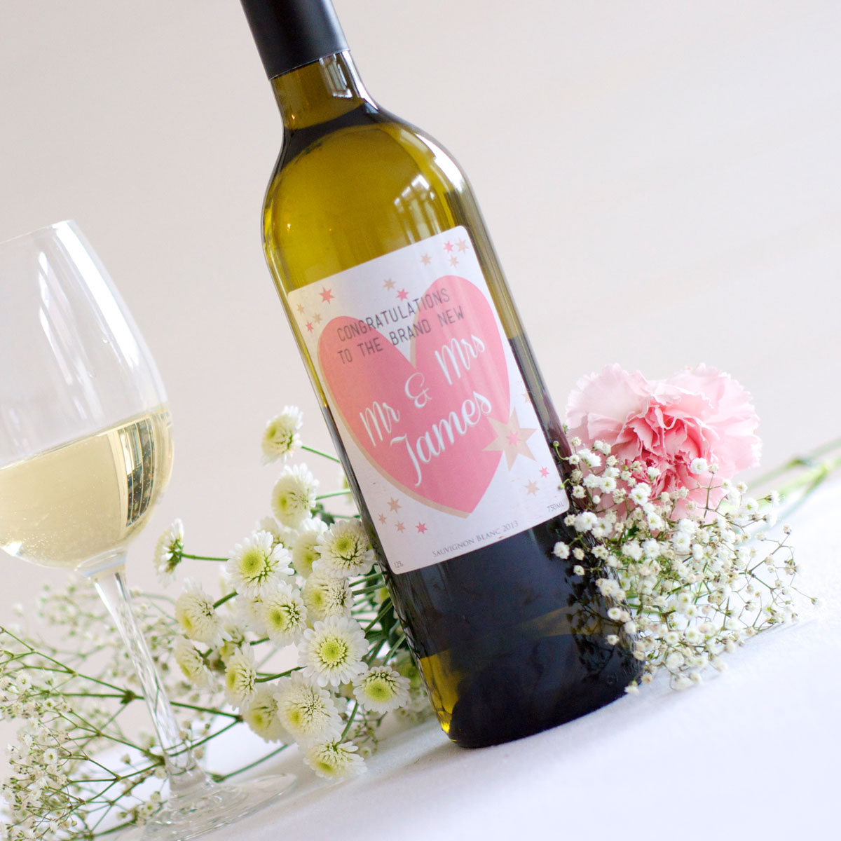 Personalised wine for wedding