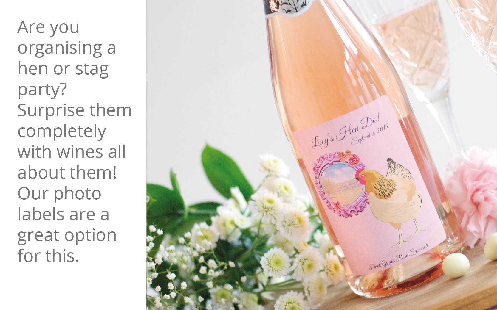 Personalised hen party wine