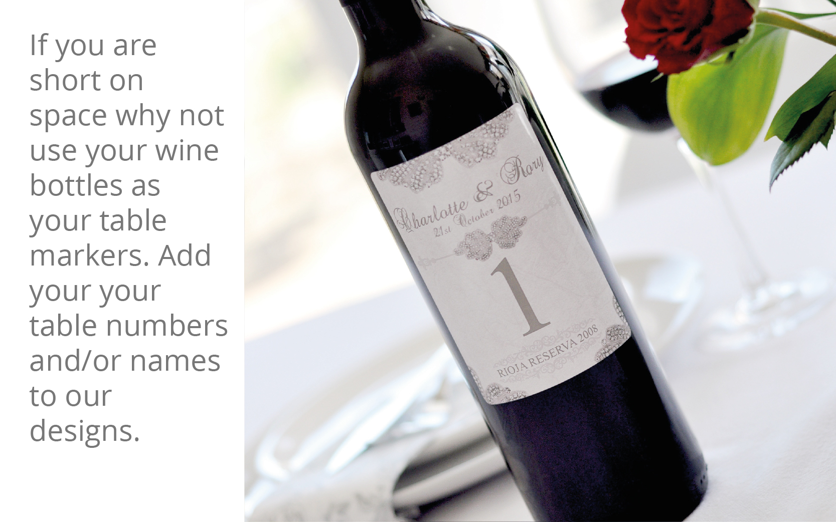 Personalised table number wine bottles for your wedding