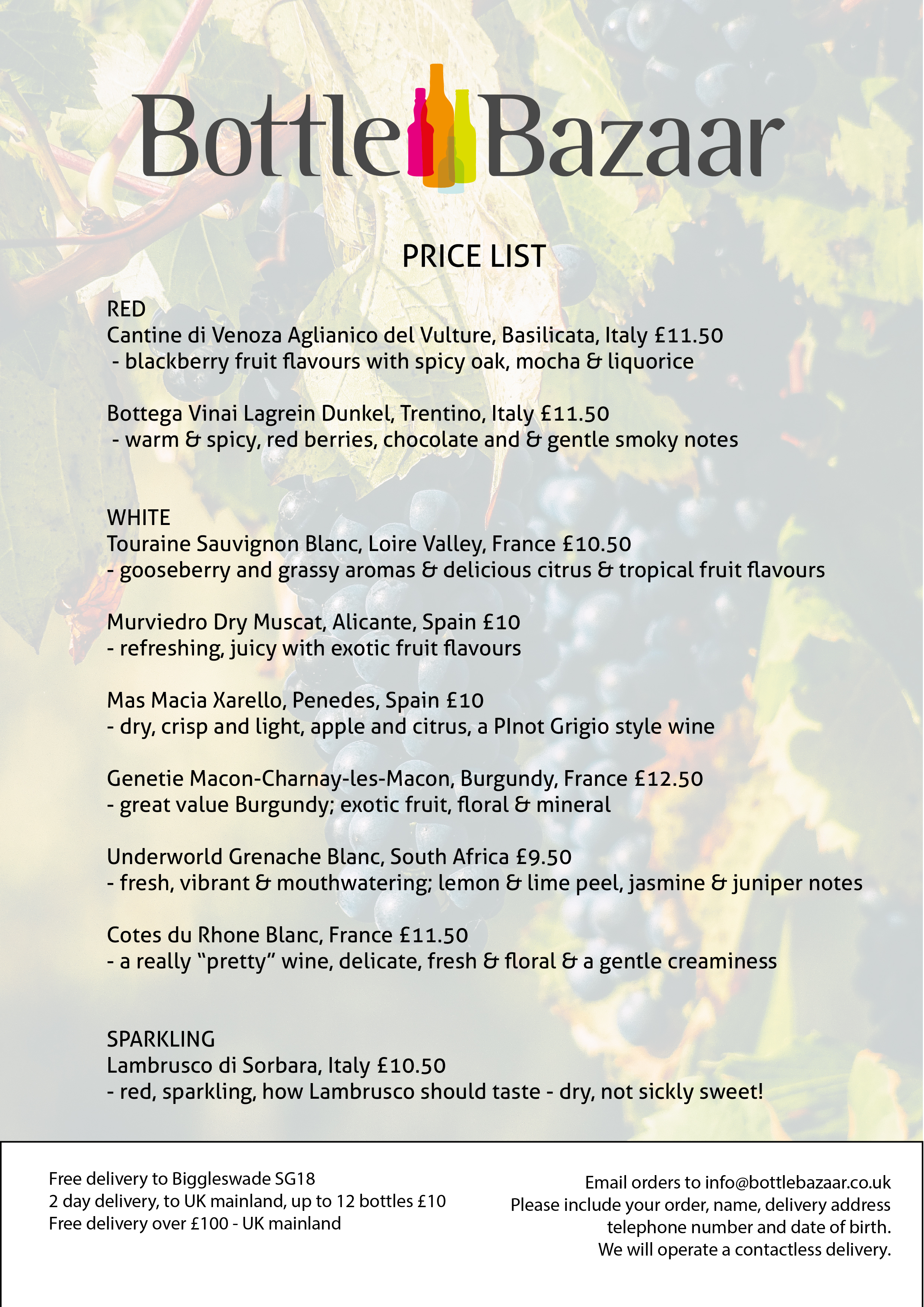 Wine List Pricing Available Now for delivery