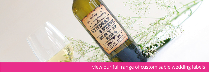 wine with personalised wedding label